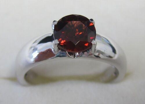 Damenring 925 Silber rhodiniert Granat rot rund Stein Solitär Einsteiner