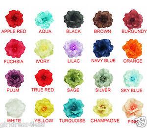 Rose-Satin-Fabric-Lady-Woman-Wedding-Flower-Girl-Dress-Pin-Brooch-MANY-COLORS