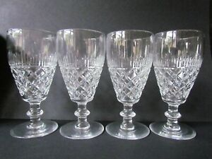 WEBB-CUT-CRYSTAL-VINTAGE-SET-OF-4-CHAMPAGNE-FLUTES-GLASSES-Ref4673