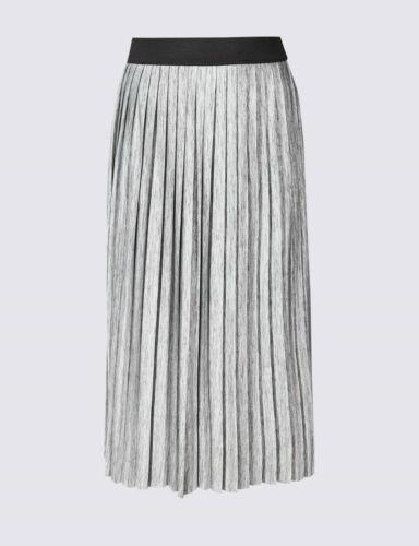 M/&S CURVE Metallic Pleat Maxi Skirt 24//26//28