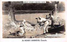 CANADA Ontario Postcard Real Photo RPPC c40s HONEY HARBOUR Exaggeration Fish 99