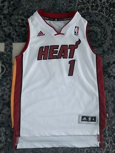 Details about 100% Authentic Adidas Stitched Miami Heat Chris Bosh Jersey Youth M