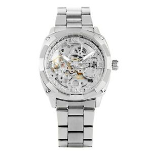 FORSINING Men's Automatic Mechanical Watch Silver/Black/Golden Steel Strap Reloj