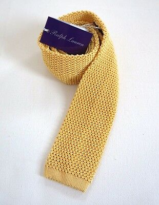 NWT Authentic RALPH LAUREN PURPLE Label Yellow 100% Silk KNITTED Skinny Tie