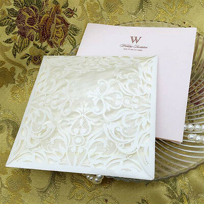 10pcs Square Custom Laser Cut Wedding Invitations Cards Kits Envelopes Seals