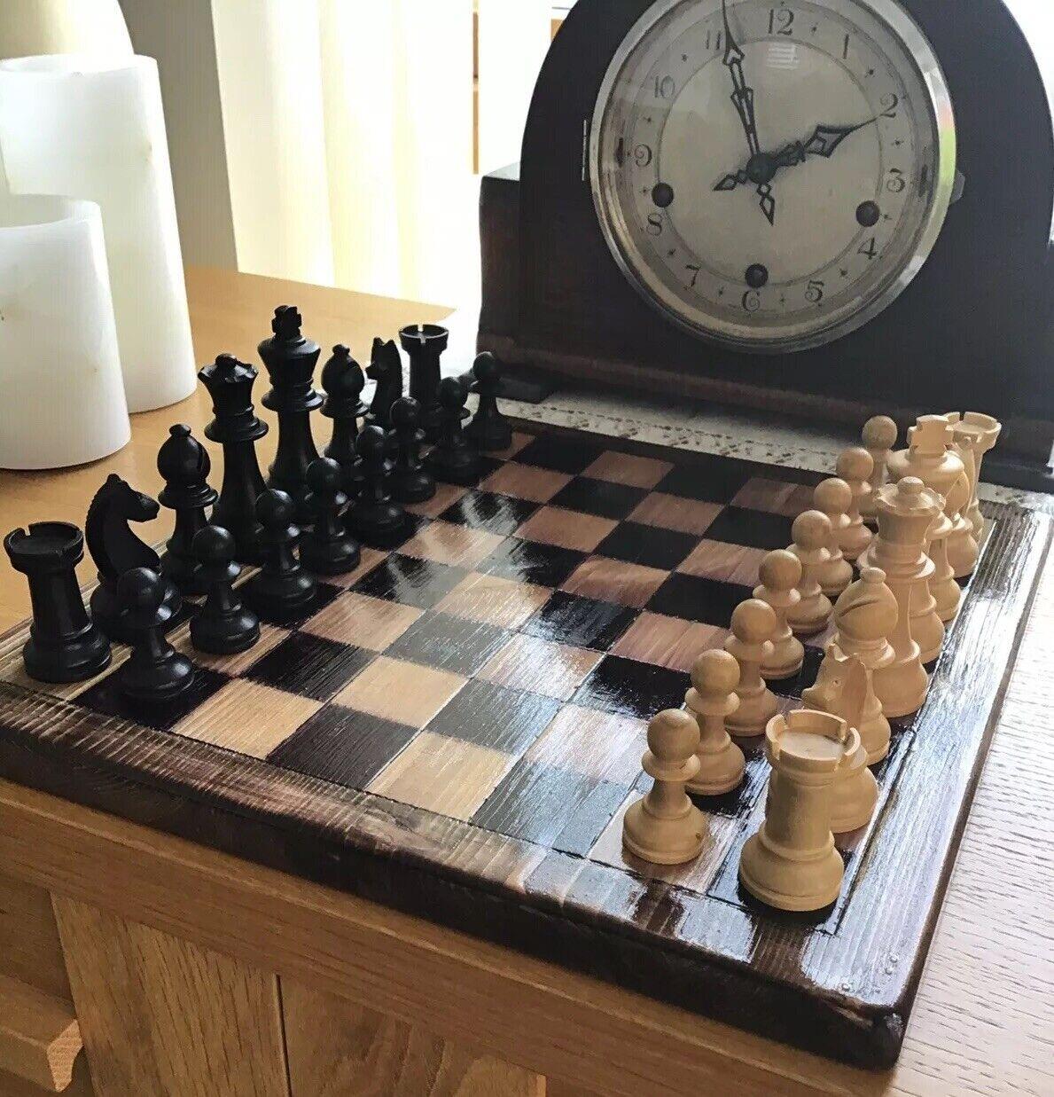 ♟ Chess Set et board  (en bois) ♟ vintage-grande-SUPERBE (30 cm x 30 cm) ⭐  avec 100% de qualité et 100% de service