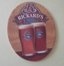 Rickard's Red & Gold Oval Beer Coaster (Molson Coors Canada) New