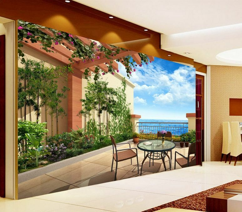3D Mega Balcony Vast Sea Views865 Wall Paper Wall Print Decal Wall AJ Wall Paper