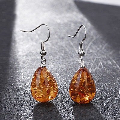 Woman Genuine Baltic  Earrings Silver Water Drop Long Dangle Jewelry Amber Color