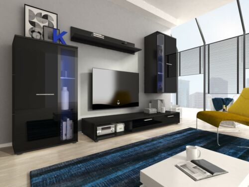 Black High Gloss Living Room Set Furniture Wall Floor Display Unit