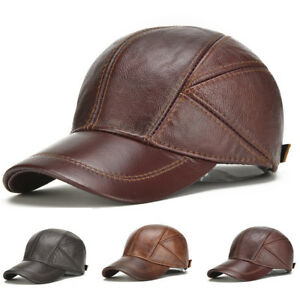 7730df119d2 Mens Genuine Cow Leather Baseball Cap Winter Warm Hats With Ear ...