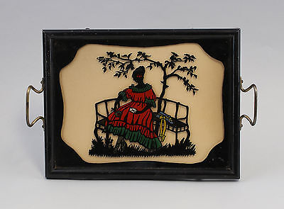 Antiques Small Tray Um 1900 Behind Glass Picture Paper Cutting Lady 99880066 Fashionable And Attractive Packages
