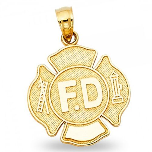 Fire Department Badge Pendant Solid 14k Yellow Gold Charm Diamond Cut Polished