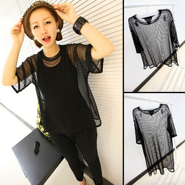 Vogue Leader Cool See Through Mesh Short Sleeve Shirt Oversize Cover Tops Blouse