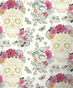 Details About Sugar Skull Floral Wallpaper Pink Gold Cream Butterflies Art Hearts Rasch