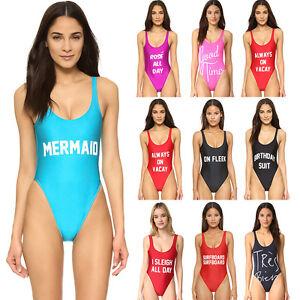 5a791f5f3d4d9 Image is loading Women-One-piece-Swimsuit-Letter-Print-Swimwear-Monokini-