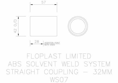 """FLOPLAST 32mm 1.1//4/"""" WHITE STRAIGHT COUPLING COUPLER CONNECTOR ABS SOLVENT WASTE"""
