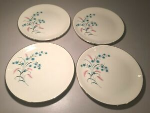 "Vintage Canonsburg ""Citation"" Set (4) Salad Plates-Pink-Turquoise Flowers MCM"