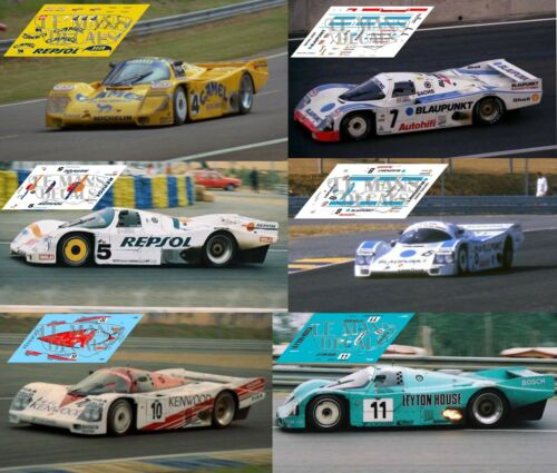 Calcas Porsche 962C Le Mans 1988 4 5 7 8 1:32 1:43 1:24 1:18 962 slot decals