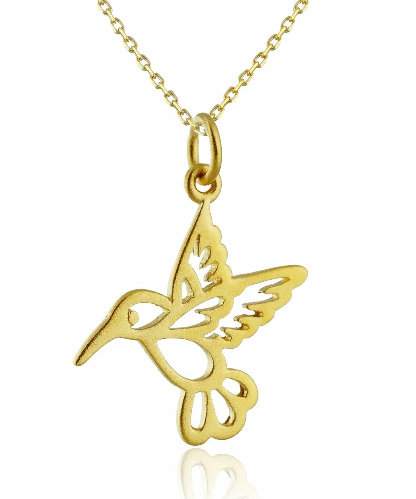 Charm Bird Pendant NEW 24K Gold Plated Sterling Silver Hummingbird Necklace