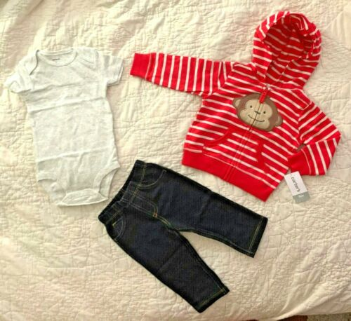 CARTER/'S SIZE 12 MONTHS STRIPED MONKEY HOODIE JEANS /& TOP OUTFIT BOYS GIRLS NEW