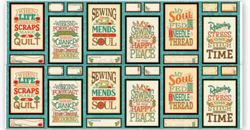 """Sew Quilt Inspiration Quotes Cotton Fabric QT Sewing Mends Soul 24/""""X44/"""" Panel"""