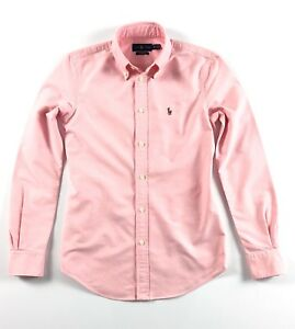 Ralph-Lauren-chemise-femme-Harper-Oxford-rose-solide-Custom-Fit-manches-longues