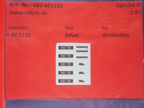 DR III Nassschiebebilder 11-tlg. V60 1151 H0 Ep