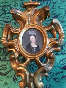 Antique Miniature Portrait Oil On Copper Panel In Ornate Gilt Rococo Frame
