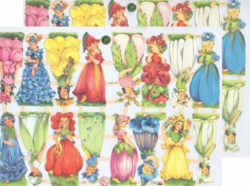 Chromo EF Découpis Fée des Fleurs 7425 Embossed Illustrations Flower Fairy