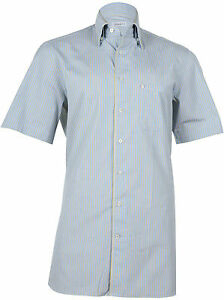 Zilli-Men-039-s-Blue-Yellow-Cotton-Shirt-Short-Sleeve-Slim-fit-size-40-41-46