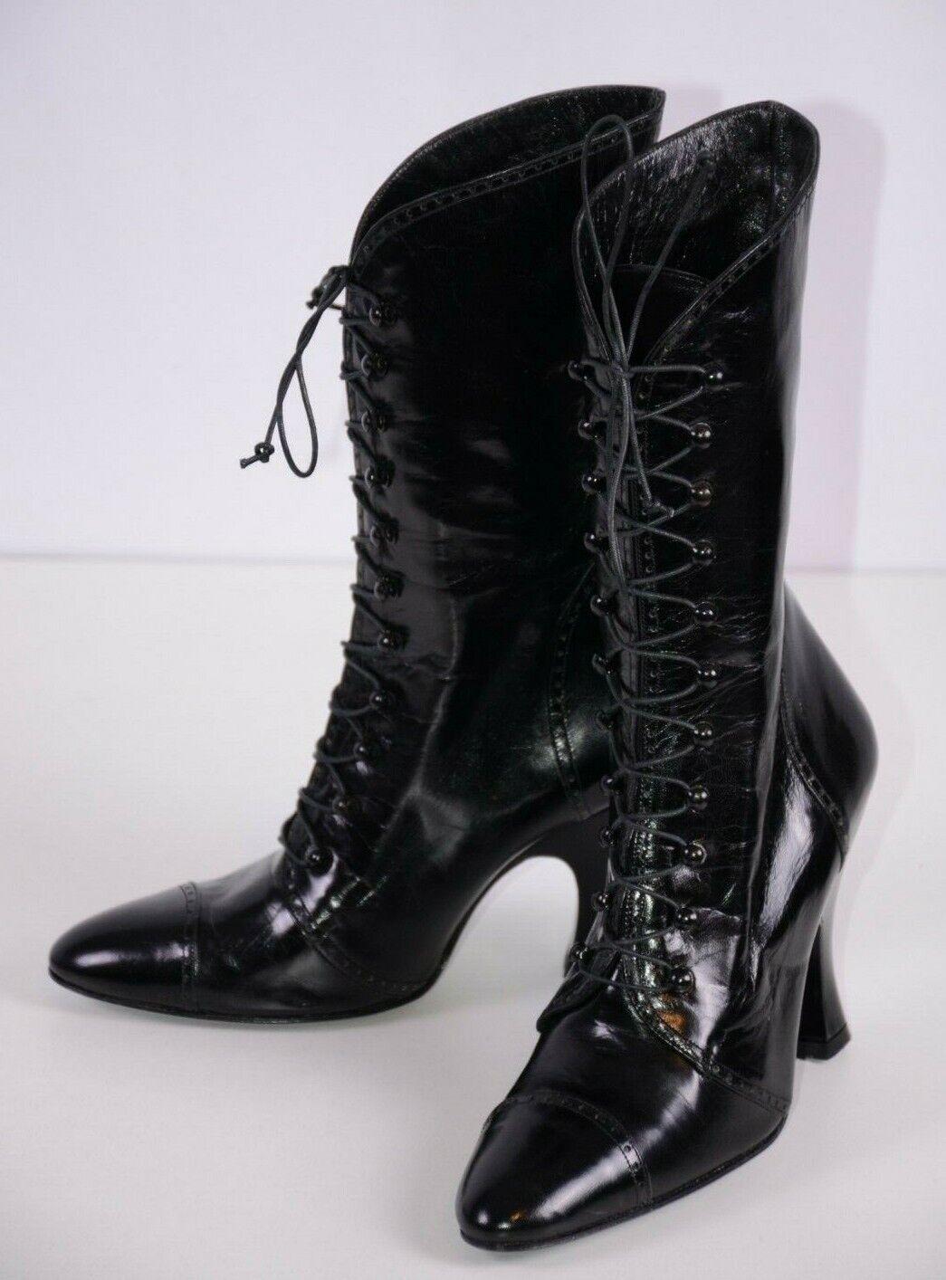 Norma Kamali Women's Lace Up Boots Size 7B Black Lacquered Kitten Heel Steampunk