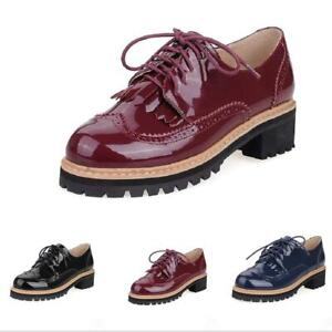 Vintage-Ladies-Patent-Leather-Lace-Up-Chunky-Heel-Brogue-Oxfords-College-Shoes