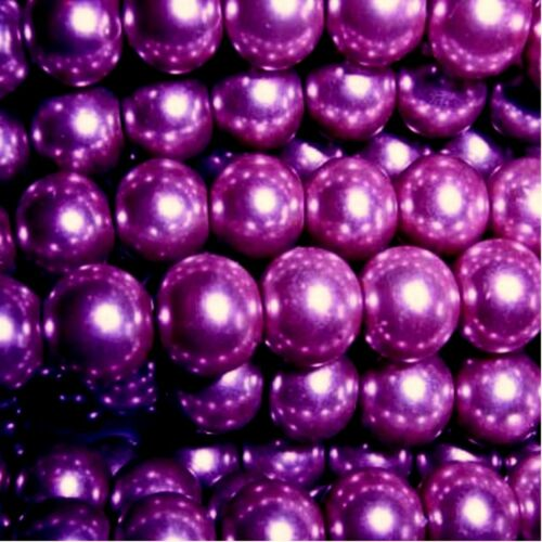 Dark Purple 50 pieces 10mm Glass Pearl Beads A1230