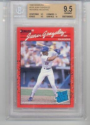 1990 Donruss Juan Gonzalez (Rookie Card) (#33A) (Reverse Negative) BGS9.5 BGS