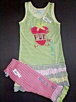 Sz 7 Naartjie Green Striped Juicy Fruit Dress & Pink Striped Capri Pants Set