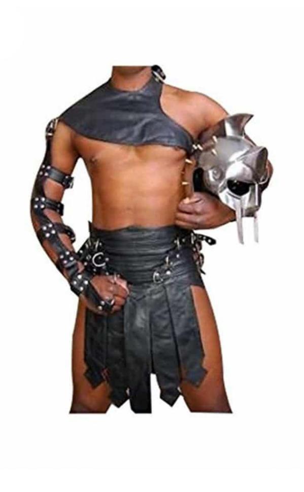 Mens Real Cowhide Leather Black Roman Gladiator Kilt Set Halloween Costume LARP