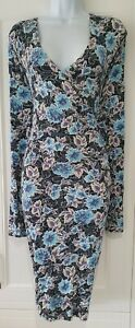 Womens-Joe-Browns-Blue-Floral-Stretch-Jersey-Long-Sleeve-Fixed-Wrap-Dress-18