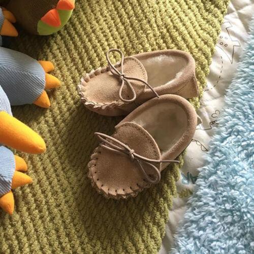 Los bebés Gamuza de Piel De Cordero Mocasín Zapatilla Suela Suave Beige Azul Marino Beige Marrón