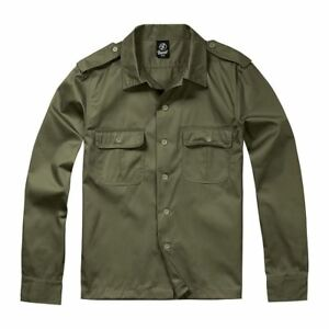Brandit-Combat-Shirt-Military-Army-Style-Long-Sleeve-Olive-Green