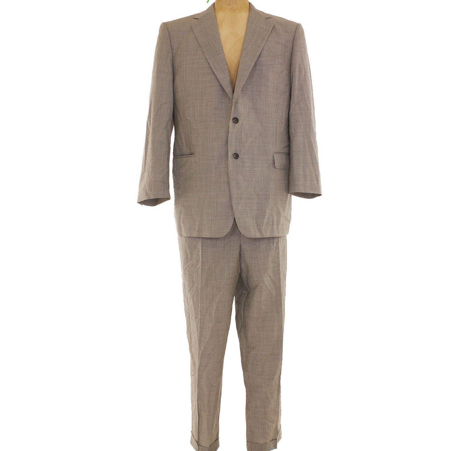 Loro Piana  Suit Coat + Trouser Pants 46L / W40 grau Mini Houndstooth B63