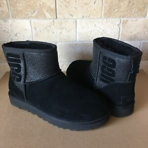 f7cb5e9cf62 Details about UGG Classic Mini UGG Sparkle Graphic Black Suede Sheepskin  Boots Size US 5 Women
