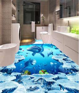 blau unterwasser haifisch algen 3d fu boden wandgem lde foto bodenbelag tapete ebay. Black Bedroom Furniture Sets. Home Design Ideas