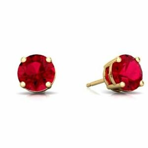 Ruby-Round-Stud-Earrings-14Kt-Yellow-Gold