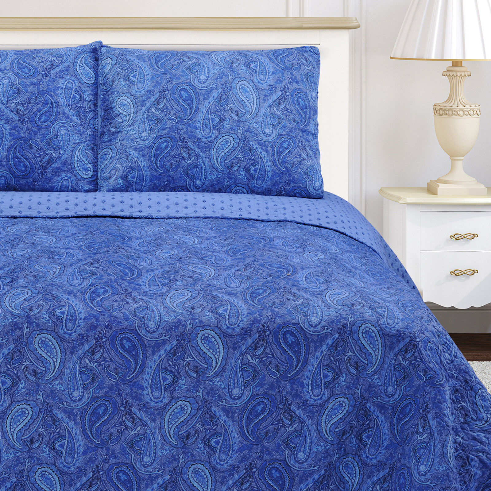 100% COTTON MgoldCCAN PAISLEY 3PC QUILT SET-NAVY blueE