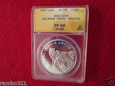 Belarus Wolf Wolves Canis Lupis Swarovski 999 Silver NGC PCGS ICG ANACS PF69 COA