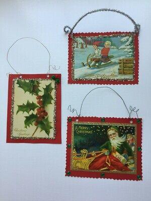 3 Christmas Vintage Reproduction Postcard Ornaments ...