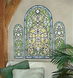 Image is loading WALLIES-STAINED-GLASS-WINDOW-wall-stickers-MURAL-3-