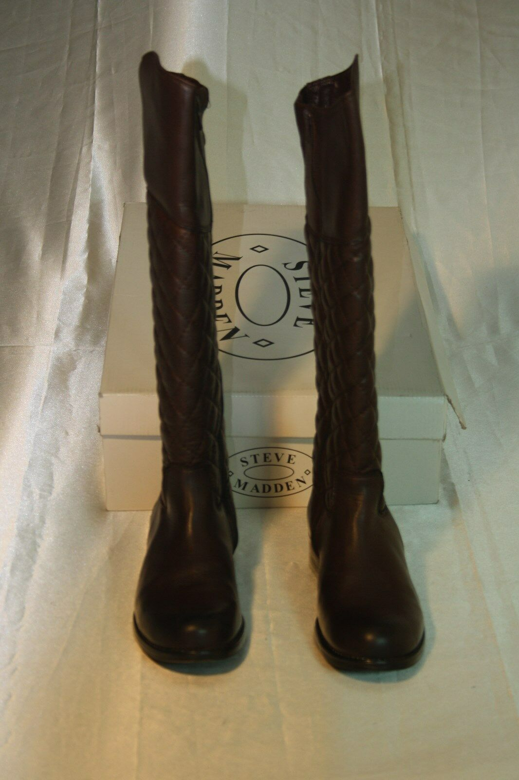 New Steve Madden Women's Brown Leather Reggo Boots Size: Us 6 Eur 37