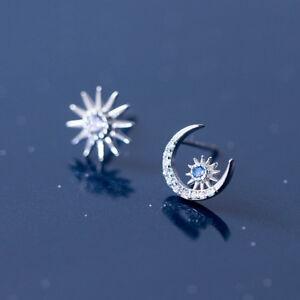 neuer & gebrauchter designer herausragende Eigenschaften fairer Preis Details zu Ohrstecker Sonne Mond Stern echt Sterling Silber 925 Zirkonia  blau Ohrringe